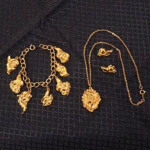 Disney Snow White Necklace Bracelet Earrings Set